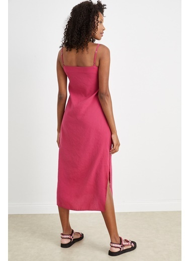 Curly Fuşya,İp Askılı Elbise Fuşya
